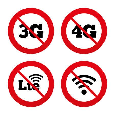 3g: Signos No, Ban o detenerse. Iconos m�viles de telecomunicaciones. 3G, 4G y tecnolog�a LTE s�mbolos. Wi-fi a Internet inal�mbrico y signos evoluci�n a largo plazo. Prohibici�n prohibido s�mbolos rojos. Vector