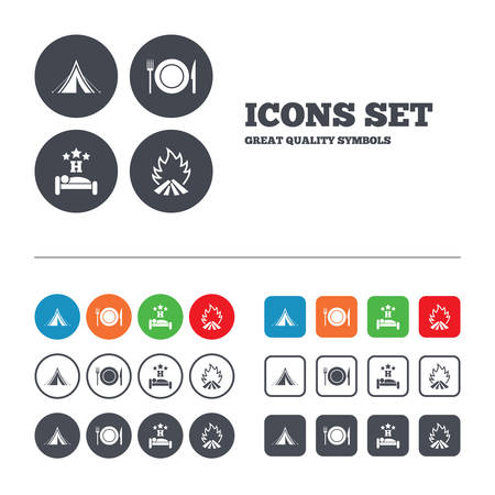 breakfast in bed: Food, sleep, camping tent and fire icons. Knife, fork and dish. Hotel or bed and breakfast. Road signs. Web buttons set. Circles and squares templates. Vector Illustration