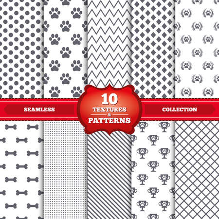 Repeatable patterns and textures. Pets icons. Dog paw sign. Winner laurel wreath and cup symbol. Pets food. Gray dots, circles, lines on white background. Vector Illustration