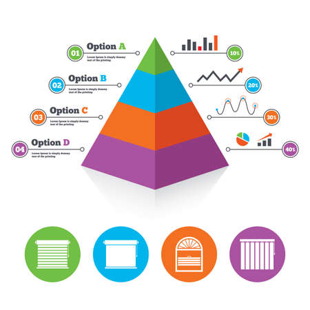 Pyramid chart template. Louvers icons. Plisse, rolls, vertical and horizontal. Window blinds or jalousie symbols. Infographic progress diagram. Vector
