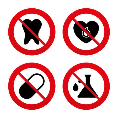 ban aid: No, Ban or Stop signs. Maternity icons. Pill, tooth, chemistry and heart signs. Blood donation symbol. Lab bulb with drops. Dental care. Prohibition forbidden red symbols. Vector