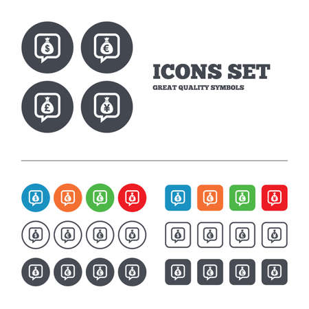 Money bag icons. Dollar, Euro, Pound and Yen speech bubbles symbols. USD, EUR, GBP and JPY currency signs. Web buttons set. Circles and squares templates. Vector Vector