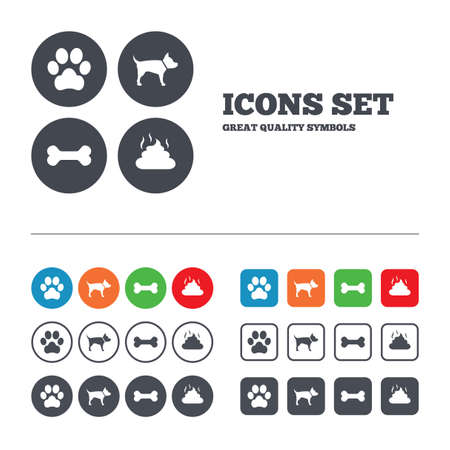 Pets icons. Dog paw and feces signs. Clean up after pets. Pets food. Web buttons set. Circles and squares templates. Vector Vector