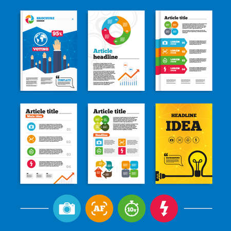 autofocus: Brochure or flyers design. Photo camera icon. Flash light and autofocus AF symbols. Stopwatch timer 10 seconds sign. Business poll results infographics. Vector Illustration