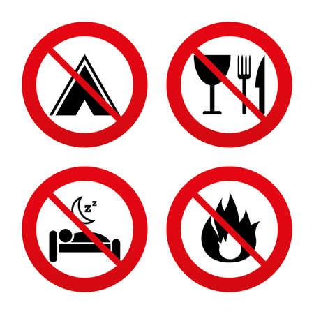 fork road: Signos No, Ban o detenerse. Comida, sue�o, tienda de campa�a y el fuego iconos. Cuchillo, tenedor y copa. Hotel o alojamiento y desayuno. Las se�ales de tr�fico. Prohibici�n prohibido s�mbolos rojos. Vector