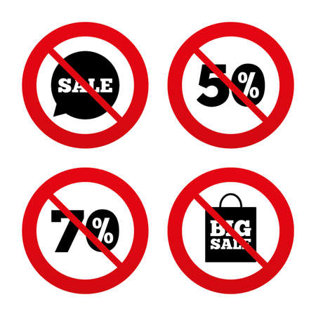 No, Ban or Stop signs. Sale speech bubble icon. 50% and 70% percent discount symbols. Big sale shopping bag sign. Prohibition forbidden red symbols. Vector Vector
