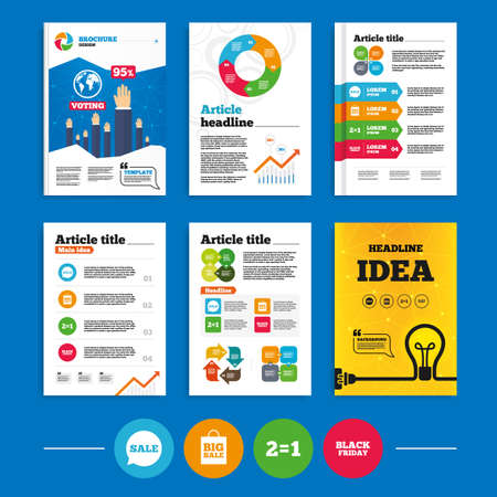 sign equals: Brochure or flyers design. Sale speech bubble icons. Two equals one. Black friday sign. Big sale shopping bag symbol. Business poll results infographics. Vector Illustration