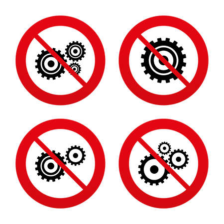 No, Ban or Stop signs. Cogwheel gear icons. Mechanism symbol. Website or App settings sign. Working process performance. Prohibition forbidden red symbols. Vector Vector