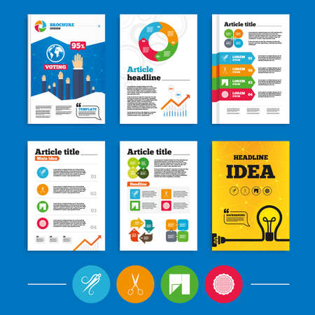 business cloth: Brochure or flyers design. Textile cloth piece icon. Scissors hairdresser symbol. Needle with thread. Tailor symbol. Canvas for embroidery. Business poll results infographics. Vector