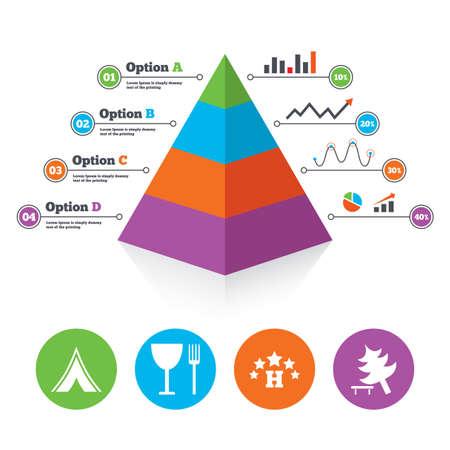 tree diagram: Piramide modello di grafico. Alimentari, albergo, tenda di campeggio e albero icone. Bicchiere di vino e forchetta. Abbattere albero. Segnali stradali. Lo schema di progresso Infografica. Vettore