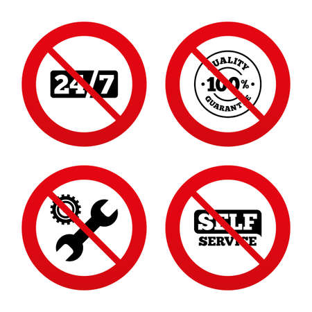 No, Ban or Stop signs. Repair fix tool icons. 24h Customer support service signs. 100% quality guarantee symbol. Cogwheel gear with wrench key. Prohibition forbidden red symbols. Vector Vector