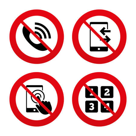 outcoming: No, Ban or Stop signs. Phone icons. Touch screen smartphone sign. Call center support symbol. Cellphone keyboard symbol. Incoming and outcoming calls. Prohibition forbidden red symbols. Vector Illustration