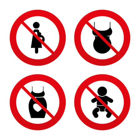 dress size: No, Ban or Stop signs. Maternity icons. Baby infant, pregnancy and shirt signs. Dress with heart symbol. Prohibition forbidden red symbols. Vector