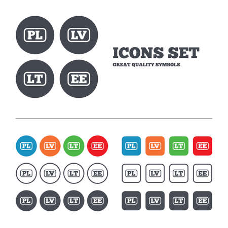 Language icons. PL, LV, LT and EE translation symbols. Poland, Latvia, Lithuania and Estonia languages. Web buttons set. Circles and squares templates. Vector Illustration