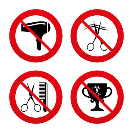 comb hair: No, Ban or Stop signs. Hairdresser icons. Scissors cut hair symbol. Comb hair with hairdryer symbol. Barbershop winner award cup. Prohibition forbidden red symbols. Vector