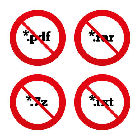 rar: No, Ban or Stop signs. Document icons. File extensions symbols. PDF, RAR, 7z and TXT signs. Prohibition forbidden red symbols. Vector