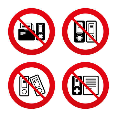 auditing: No, Ban or Stop signs. Accounting icons. Document storage in folders sign symbols. Prohibition forbidden red symbols. Vector