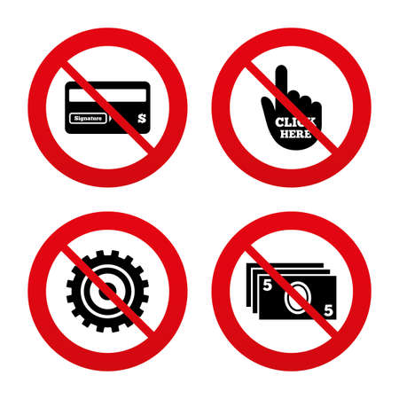 bank withdrawal: No, Ban or Stop signs. ATM cash machine withdrawal icons. Insert bank card, click here and check PIN, processing and get cash symbols. Prohibition forbidden red symbols. Vector