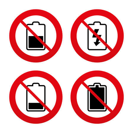 electrochemical: No, Ban or Stop signs. Battery charging icons. Electricity signs symbols. Charge levels: full, half and low. Prohibition forbidden red symbols. Vector Illustration