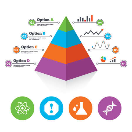 poison arrow: Pyramid chart template. Attention and DNA icons. Chemistry flask sign. Atom symbol. Infographic progress diagram. Vector Illustration