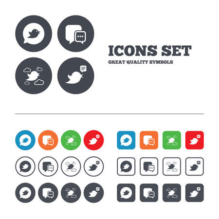 three dots: Birds icons. Social media speech bubble. Chat bubble with three dots symbol. Web buttons set. Circles and squares templates. Vector