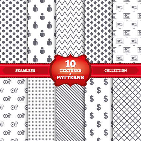 Repeatable patterns and textures. Business icons. Human silhouette and presentation board with charts signs. Dollar currency and gear symbols. Gray dots, circles, lines on white background. Vector Vector