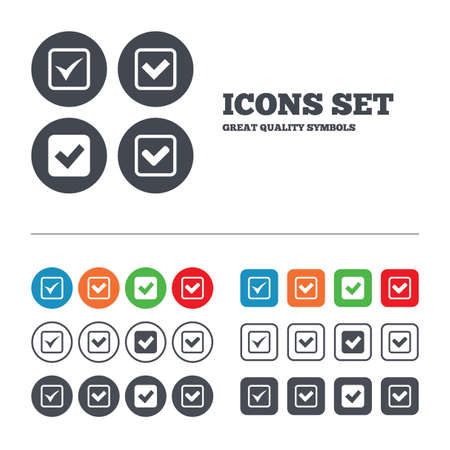 checkbox: Check icons. Checkbox confirm squares sign symbols. Web buttons set. Circles and squares templates. Vector Illustration