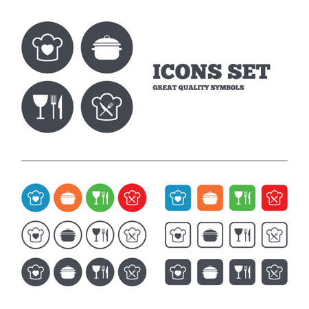 crosswise: Chief hat with heart and cooking pan icons. Crosswise fork and knife signs. Boil or stew food symbol. Web buttons set. Circles and squares templates. Vector