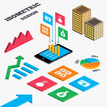 currency converter: Isometric design. Graph and pie chart. Currency exchange icon. Cash money bag and wallet with coins signs. Dollar, euro, pound, yen symbols. Tall city buildings with windows. Vector