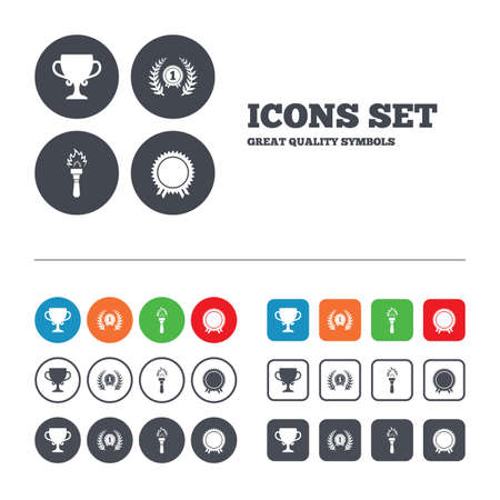 fire place: First place award cup icons. Laurel wreath sign. Torch fire flame symbol. Prize for winner. Web buttons set. Circles and squares templates. Vector