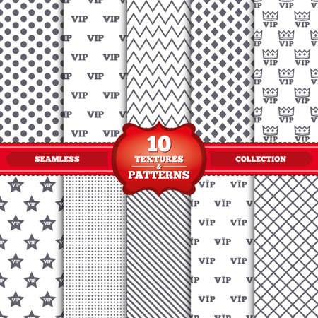 very important person: Repeatable patterns and textures. VIP icons. Very important person symbols. King crown and star signs. Gray dots, circles, lines on white background. Vector