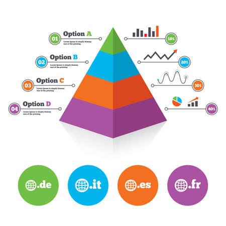 vector es: Pyramid chart template. Top-level internet domain icons. De, It, Es and Fr symbols with globe. Unique national DNS names. Infographic progress diagram. Vector Illustration