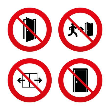 No, Ban o segnali di stop. Icona automatica porta. Uscita di emergenza con i simboli e figure freccia umani. Segnali di uscita del fuoco. Divieto vietato simboli rossi. Vettore
