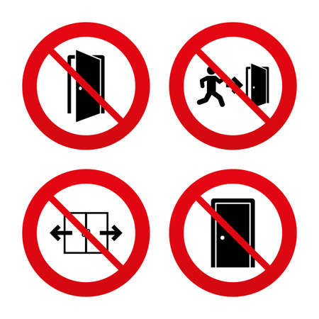 room door: No, Ban or Stop signs. Automatic door icon. Emergency exit with human figure and arrow symbols. Fire exit signs. Prohibition forbidden red symbols. Vector Illustration