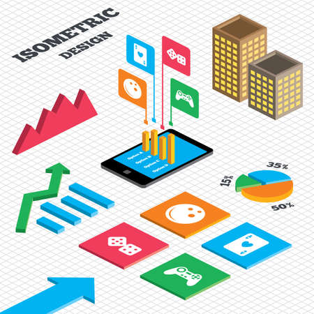 playing video game: Isometric design. Graph and pie chart. Bowling and Casino icons. Video game joystick and playing card with dice symbols. Entertainment signs. Tall city buildings with windows. Vector