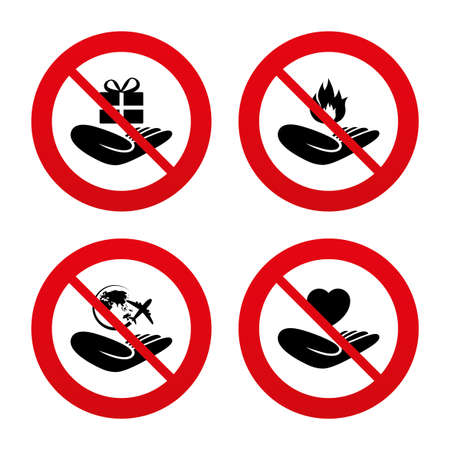fire protection: No, Ban or Stop signs. Helping hands icons. Health and travel trip insurance symbols. Gift present box sign. Fire protection. Prohibition forbidden red symbols. Vector