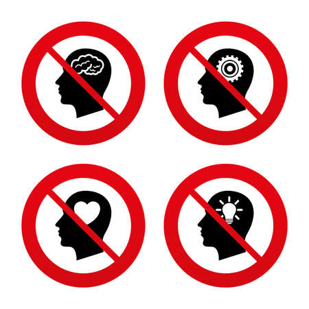forbidden love: No, Ban or Stop signs. Head with brain and idea lamp bulb icons. Male human think symbols. Cogwheel gears signs. Love heart. Prohibition forbidden red symbols. Vector Illustration