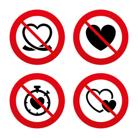 forbidden love: No, Ban or Stop signs. Heart ribbon icon. Timer stopwatch symbol. Love and Heartbeat palpitation signs. Prohibition forbidden red symbols. Vector