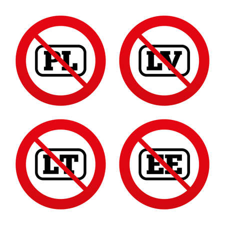 lt: No, Ban or Stop signs. Language icons. PL, LV, LT and EE translation symbols. Poland, Latvia, Lithuania and Estonia languages. Prohibition forbidden red symbols. Vector