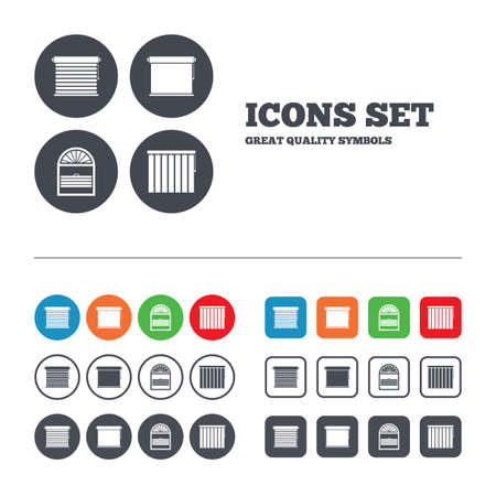 Louvers icons. Plisse, rolls, vertical and horizontal. Window blinds or jalousie symbols. Web buttons set. Circles and squares templates. Vector Ilustracja