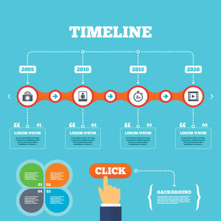seconds: Timeline with arrows and quotes. Photo camera icon. Flash light and video frame symbols. Stopwatch timer 2 seconds sign. Human portrait photo frame. Four options steps. Click hand. Vector Illustration