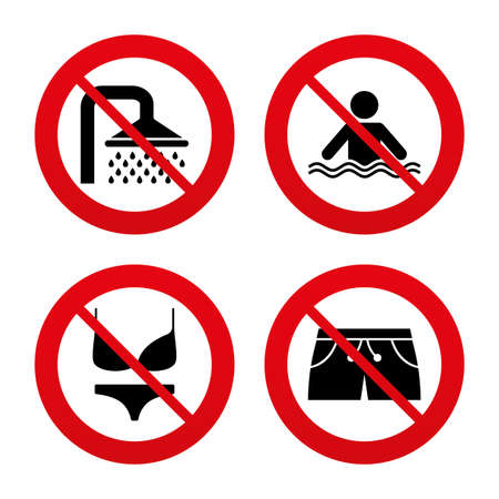 women in underwear: No, Ban or Stop signs. Swimming pool icons. Shower water drops and swimwear symbols. Human stands in sea waves sign. Trunks and women underwear. Prohibition forbidden red symbols. Vector Illustration