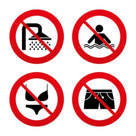 ropa interior: Signos No, Ban o detenerse. Natación iconos piscina. Ducha gotas de agua y símbolos de trajes de baño. Humano se encuentra en el mar olas signo. Trunks y mujeres la ropa interior. Prohibición prohibido símbolos rojos. Vector