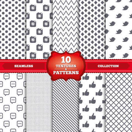 chat up: Repeatable patterns and textures. Hipster photo camera icon. Like and Chat speech bubble sign. Hand thumb up. Bird symbol. Gray dots, circles, lines on white background. Vector