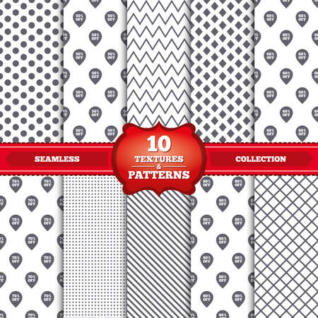 50 to 60: Repeatable patterns and textures. Sale pointer tag icons. Discount special offer symbols. 50%, 60%, 70% and 80% percent off signs. Gray dots, circles, lines on white background. Vector