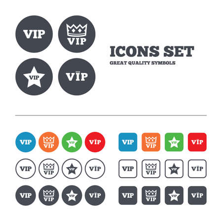 vip badge: VIP icons. Very important person symbols. King crown and star signs. Web buttons set. Circles and squares templates. Vector Illustration