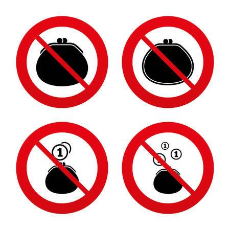 prestar atencion: Signos No, Ban o detenerse. Monedero con las monedas iconos. Signos de bolsa en efectivo. Símbolo de la riqueza retro. Prohibición prohibido símbolos rojos. Vector