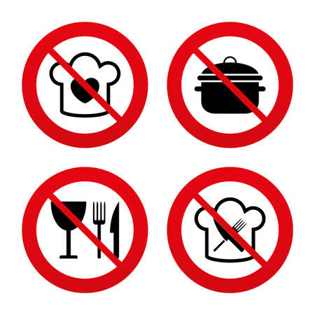 stew: No, Ban or Stop signs. Chief hat with heart and cooking pan icons. Crosswise fork and knife signs. Boil or stew food symbol. Prohibition forbidden red symbols. Vector