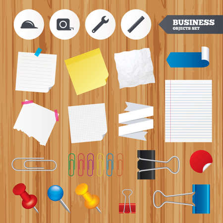 paper sheets: Paper sheets. Office business stickers, pin, clip. Construction helmet and wrench key tool icons. Ruler and tape measure roulette sign symbols. Squared, lined pages. Vector