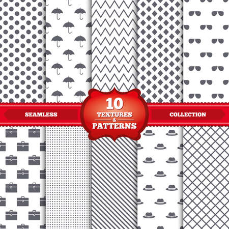 business case: Repeatable patterns and textures. Clothing accessories icons. Umbrella and sunglasses signs. Headdress hat with business case symbols. Gray dots, circles, lines on white background. Vector